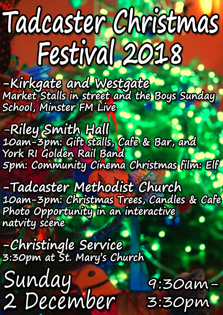 tadcaster christmas poster. Information in the text below