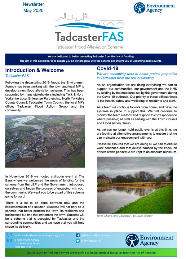 Tadcaster FAS May 2020 Newsletter Front Cover