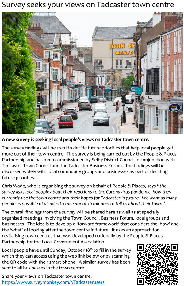 Tadcaster Town Centre Survey Poster