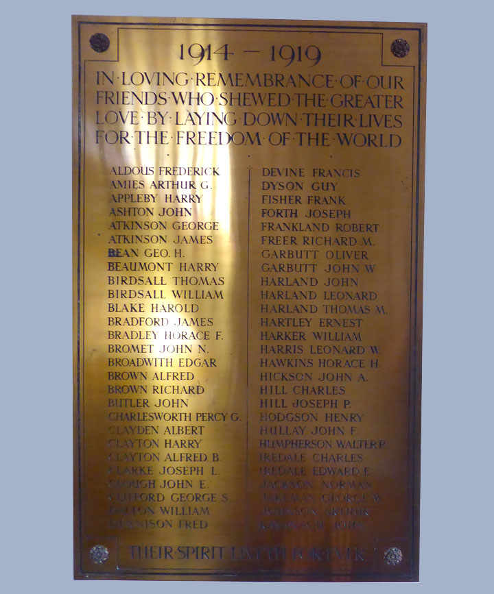 World War 1 memorial plaque